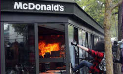 McDonald's set on fire in France on May Day