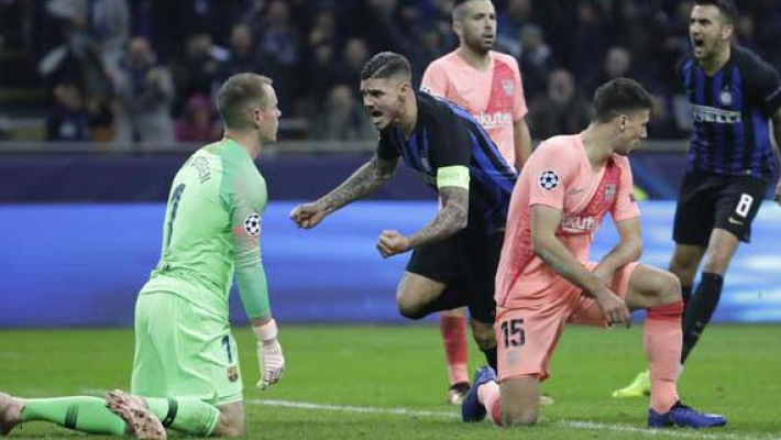 Barcelona through to Champions League last 16 despite Icardi leveller