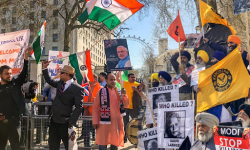 Demonstrators greet PM Modi in UK