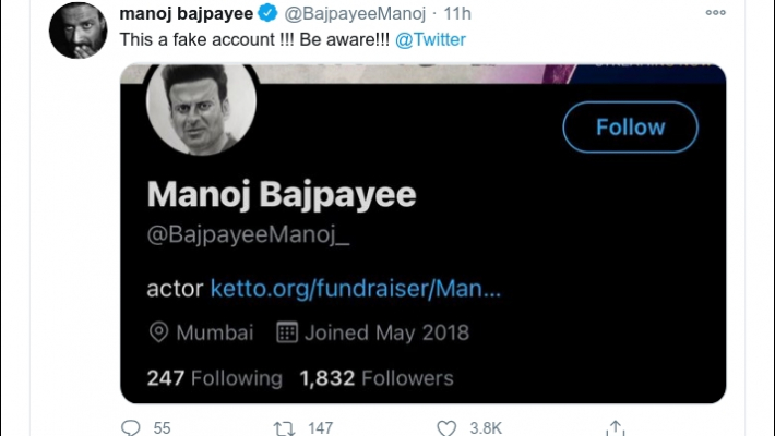 Manoj Bajpayee warns against fake Twitter account in his name