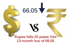 Rupee falls 25 paise; hits 13-month low of 66.05