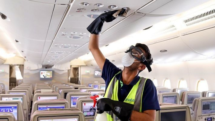 Protective gear for crew to aircraft deep cleaning as airlines prepare to resume domestic operations