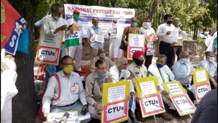 Trade unions stage protests against suspension of labour laws
