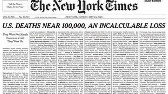 New York Times' front page lists virus victims