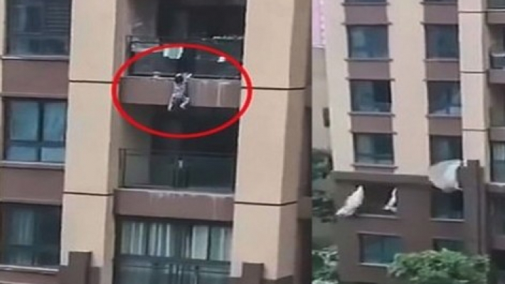 Three-year-old in China survives six-storey fall